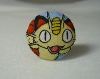 Upcycled Pokemon Fabric Meowth Ring