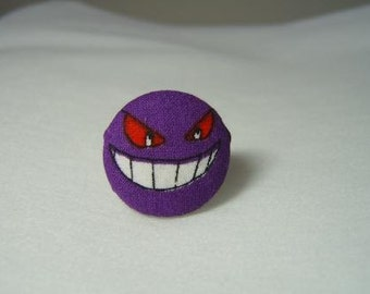 Ring with Pokemon Gengar from up-cycled fabric
