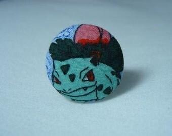 Upcycled Pokemon Fabric Ivysaur Ring