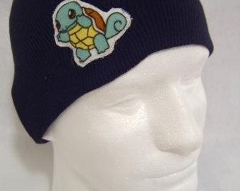 Pokemon Squirtle Beanie Skullcap Hat - made with up-cycled Pokemon fabric