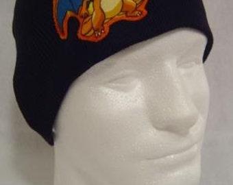 Pokemon Charizard Beanie Skullcap Hat - made with up-cycled Pokemon fabric