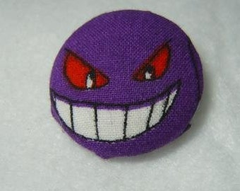 Upcycled Pokemon Fabric Gengar Button Style Pin