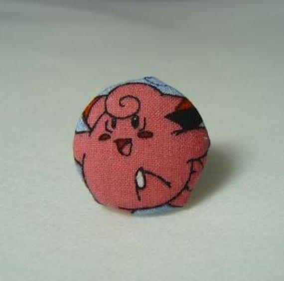 Upcycled Pokemon Fabric Clefairy Ring