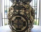 Black and White Mosaic Vase