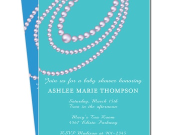 Pearls Baby Shower Invitation - Printable Pearls Shower Invitation - Choose from many colors