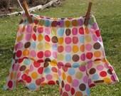 Girls Skirt - Flouncy Skirt in Happy Flower Dots - sizes 2, 3, 4, 5