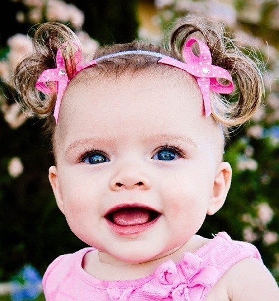 The ORIGINAL Baby Ponytails Faux Pigtail Headband - Bebe Doos Perfect Ponies - Limited Edition Pink w/Polka Dots- PATENT PENDING