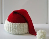 The ultimate Santa hat, preemie 4-5 lbs, hand knit luxury, Merino wool cashmere, ready to ship free Priority Mail shipping