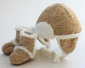 UGG style cap, faux suede yarn, size 4 years -- RESERVED