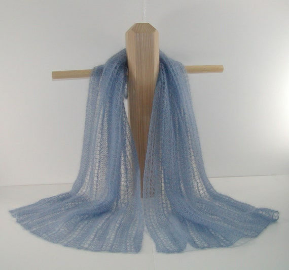 Scarf  shawl, hand-knit lace in heavenly soft luxury Angora kid mohair and silk, light blue -- ready to ship