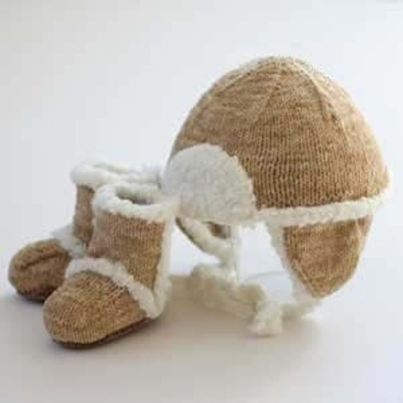 UGG style cap and boots set, faux suede yarn, sizes for ages 3 - 6 months, 6 - 9 mos, 9 - 12 months