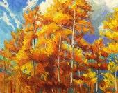 Golden Leaves 24x30 large Original landscape Oil Painting Impressionism Aspens Birch Trees Fall