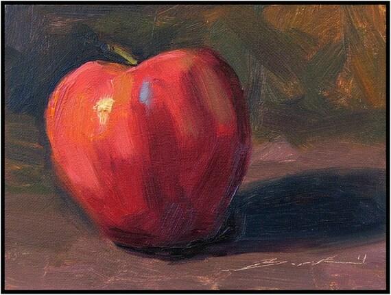 Apple 6 x 8 still life original painting affordable art framed