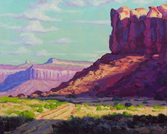 ON SALE Canyon Road 24x30 Original LARGE Oil Painting Desert western Landscape Impressionism