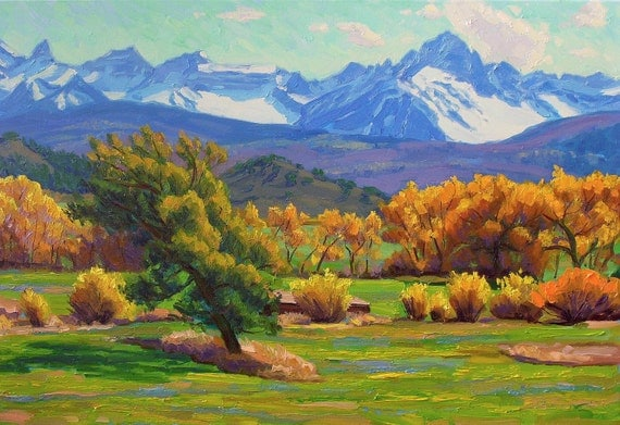 RESERVED for Garbowitz1234 Dallas Divide Oil Canvas 24 x 36 (framed) LARGE original landscape painting mountains impressionism