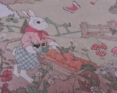 Bunny Town - Fun Vintage Fabric New Old Stock Novelty Juvenile Rabbits Animals Easter Forest