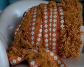 Mod Hippie Fringe - 3 yards Vintage Trim New Old Stock 60s 70s Geometric Rust Burnt Orange
