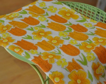 Dreaming of a MOD Spring - Vintage Fabric 36 inches wide Tulips Daisies 50s 60s New Old Stock