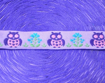 3 yards Vintage Fabric Trim Embroidered Mod Juvenile Owls 60s 70s Animals New Old Stock