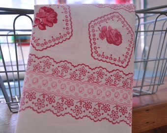 Roses and Lace - Vintage Fabric Shabby Pink Border Print 36 inches wide
