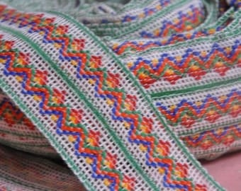 3 yards Vintage Fabric Trim New Old Stock Woven Mod 60s 70s Rainbow Bolors