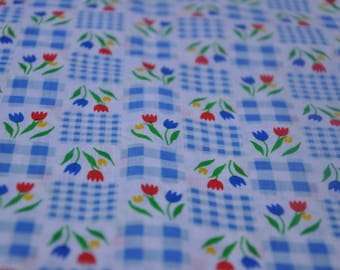 Springtime Tulips - Vintage Fabric Mod Juvenile 60s 70s New Old Stock Gingham Novelty Primary Colors