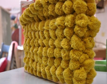 Big Gold Pom Poms   - 3 yards Vintage Fabric Trim Ball Fringe Gold 60s 70s New Old Stock
