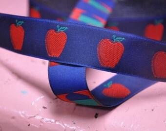 3 yards Vintage Ribbon -  Amazing Apples on Navy New Old Stock