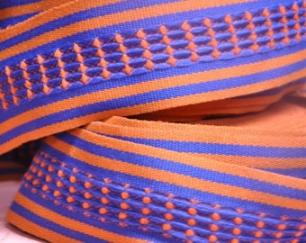 3 yards of Mod Vintage Trim -  60s 70s New Old Stock Woven Geometric Rust and Royal