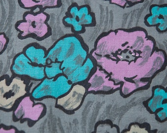 Pretty Abstract Floral - Vintage Fabric Watercolor Floral 35 in wide 50s Turquoise Purple