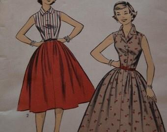 Advance 7109 Vintage Pattern -  Sz 14 Bust 32 Two Piece Dress 50s