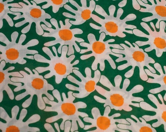 Crazy Crazy Daisies - Vintage Fabric New Old Stock Mod  Juvenile 60s 70s Orange