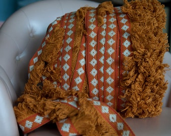 Mod Hippie Fringe - 3 yards Vintage Trim New Old Stock 60s 70s Geometric Rust Burnt Orange