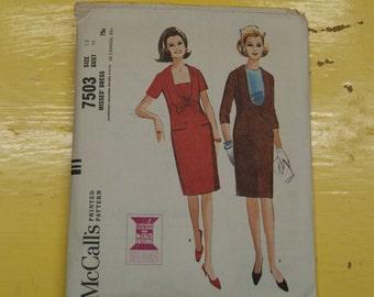 McCalls 7503 Vintage Pattern - Bust 32 Sz 12 Bow Dress Complete 1960's