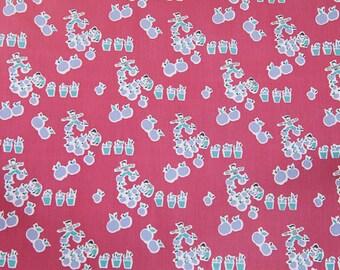 Apple Pickin - Vintage Fabric Whimsical Novelty Fruit Juvenile 36 in wide 50s