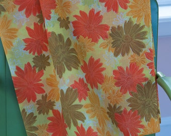Colorful Mod Floral - Vintage Fabric New Old Stock 70s Oranges Golds Greens