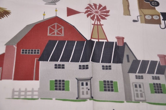 Kitschy Farm Print - Vintage Fabric Whimsical Novelty Cottage 36 in wide 50s 60s