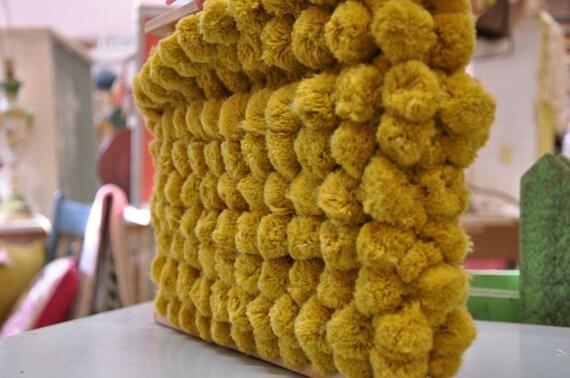 Big Gold Pom Poms   - 3 yards Vintage Fabric Trim Ball Fringe Gold 60s 70s New Old Stock