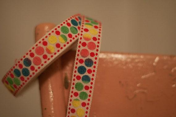 3 yards Vintage Trim Embroidered Fun Dots  70s 80s Juvenile NOS