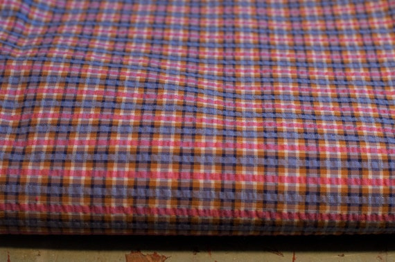 Sweet Plaid Seersucker - Vintage Fabric Juvenile Brown Purple Pinks