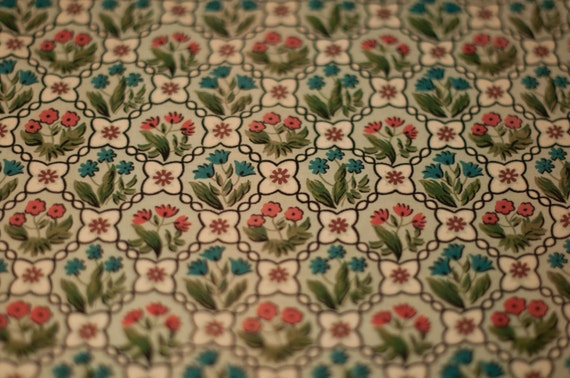 Sweetest Cottage Folk Art Floral- Novelty Vintage Fabric 50s NOS Tulips Daisies 36 in wide