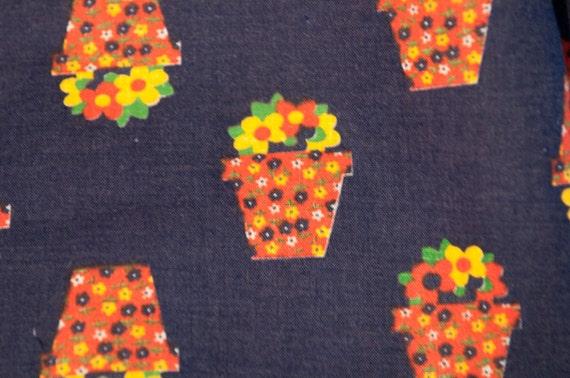 Little Daisy Calico Flowerpots- Vintage Fabric  60s 70s NOS Juvenile Floral