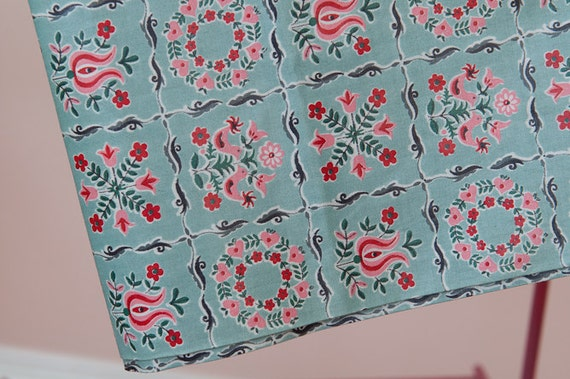 Robin Egg Blue Cottage Folk Art Floral- Novelty Vintage Fabric 50s New Old Stock Tulips Daisies 36 in wide (Reserved)