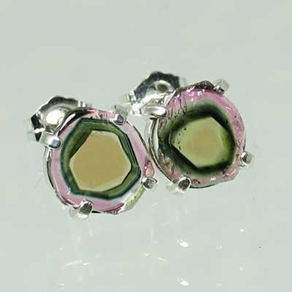 Natural Pink Watermelon Tourmaline 3.50 carats t.w. Handset in .925 Sterling Silver Earrings  NOW on sale.