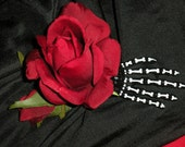 red rose with rose bud on hand painted skeleton hand , rockabilly, goth, day of the dead,  halloween hair clip