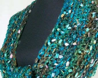 SALE Turquoise and Earth Tones Shawl