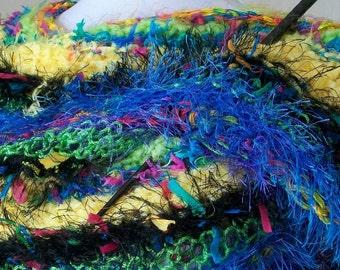 REDUCED! Yellow, Purple and Blue Goddess Shawl Wrap