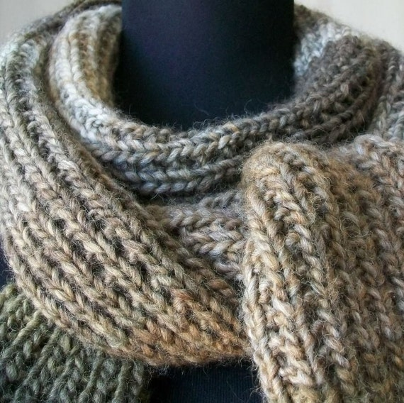 SALE Hand Knit Scarf in Earthtones Self-Striping Scarf - JAMOCHA Ja-FABULOUS
