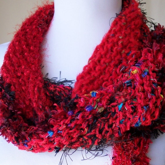 SALE Hand Knit Scarf Wrap in Red and Black