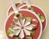 Reserved for Sara -  Gift Tags - Green and Red Poinsettia (set of 6)